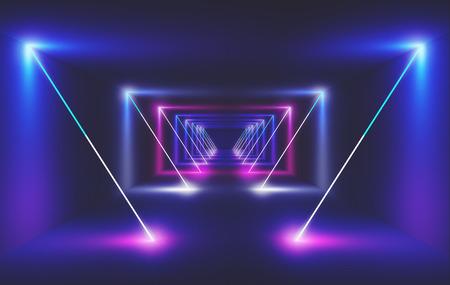 Neon light in a room, 3d render ilustration Standard-Bild - 111369269