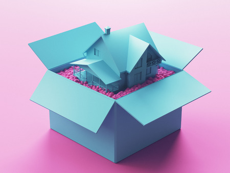 New house in a box with polystyrene, 3d render illustration Stock Photo