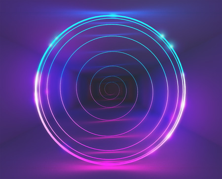 Neon light in a room, 3d render ilustration Stock Photo