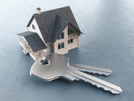 Keys of new house, 3drender illustration Stock Photo