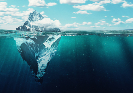 Iceberg in the water, North pole, 3d render illustration