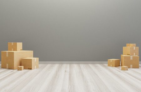 Shipping boxes in a room, 3d render illustration Standard-Bild - 111369408