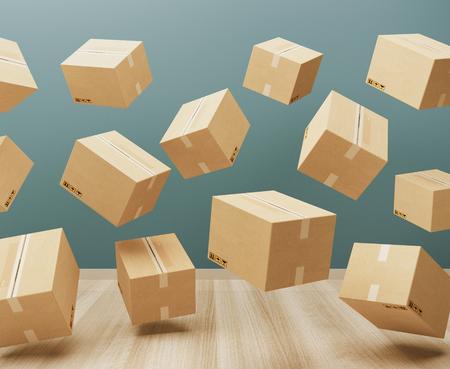 Shipping boxes in a room, 3d render illustration Standard-Bild - 111369409