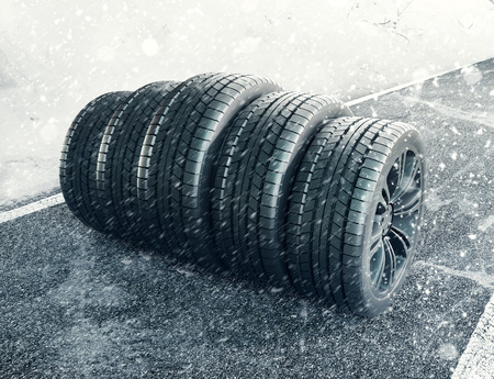 Snow tires on the road, 3d render illustration