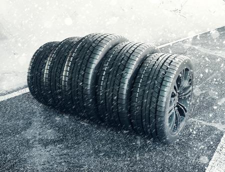 Snow tires on the road, 3d render illustration