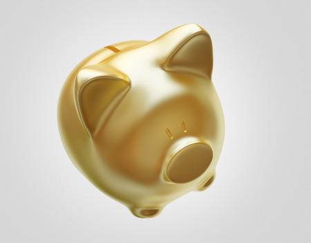 Golden piggy bank, saving money Stock Photo