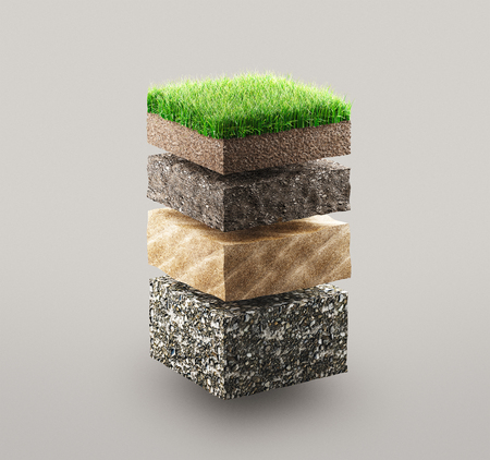 Layers of grass and ground, 3d render illustration