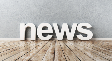 News word on a wooden floor, 3d render illustration