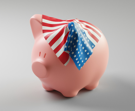 Piggy bank with USA flag on it, 3d render illustration Фото со стока