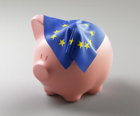 Piggy bank with Europe flag on it, 3d render illustration Standard-Bild - 111369415