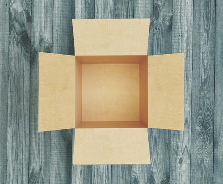 Open empty box on a wooden table, 3d render illustration Stock Photo