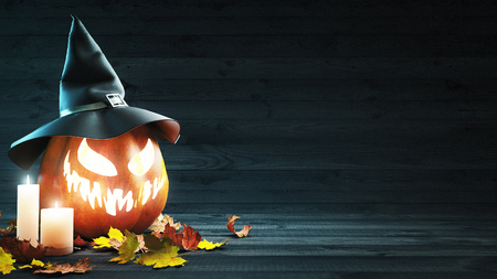 Halloween pumpkin with a witch hat, 3d render illustration Stock Photo