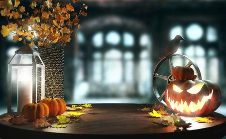 Halloween pumpkin on wooden table, 3d render illustration