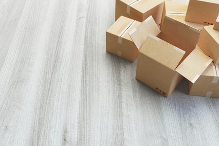 Shipping boxes ready for delivery, 3d render illustration Standard-Bild - 111369425