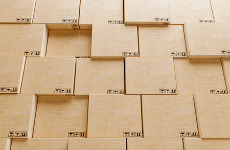 Shipping boxes ready for delivery, 3d render illustration Stock Photo