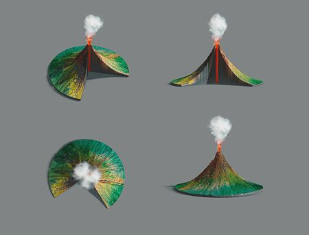 Volcano structure. Original hand painted illustration, 3d rendering