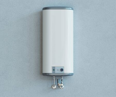 House heating concept, modern home gas fired boiler, 3d rendering 免版税图像 - 132091336