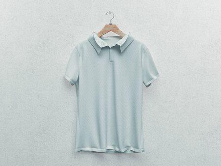 Ensemble de t-shirt blanc isolé ou de vêtements réalistes. rendu 3D. blanc ou vide, t-shirt en coton transparent. Maquette d'uniforme homme et femme