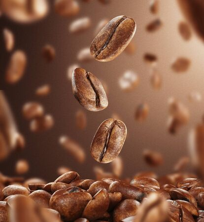 Black fried coffee beans falling down, 3d rendering