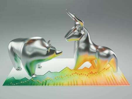 Bull and bear, finance concept, 3d rendering