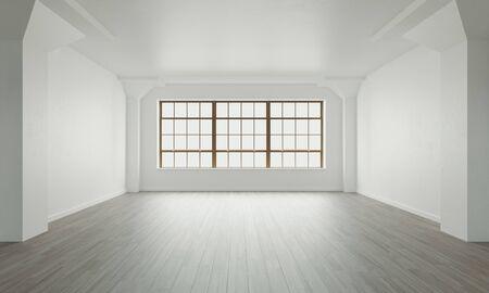 Interni classici a parete e cornice moderna con parquet, stanza vuota, rendering 3d