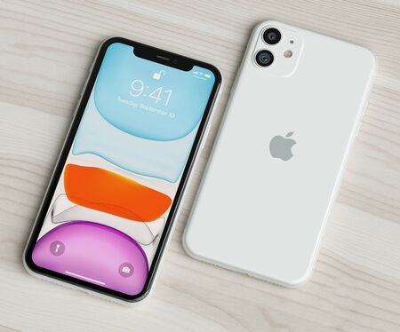 ITALY -22 SEPTEMBER, 2019: Iphone 11 smartphones on table. Iphone 11 in close up. Latest Apple Mobile iphones model. Illustrative editorial. Éditoriale