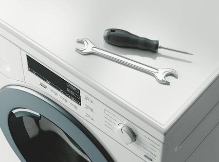 Reparatur von Waschmaschinen. Assistenz- oder Wartungskonzept. 3D-Rendering