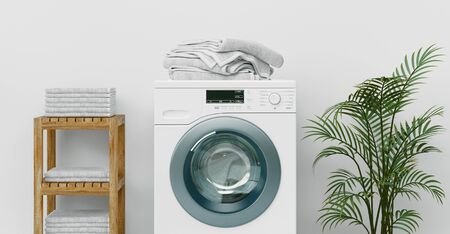Modern bathroom with shiny white cabinets and washing machine, 3d rendering
