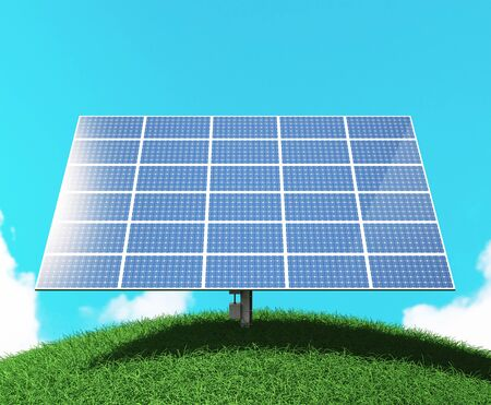 Photovoltaic panel or pv for power generation, 3d rendering Stock Photo