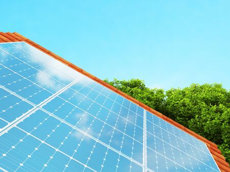 Photovoltaic panel or pv for power generation, 3d rendering illustration Stock Photo