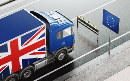 Brexit-Konzept. Englischer Lastwagen hielt vor der Flagge Europas. 3D-Rendering-Abbildung
