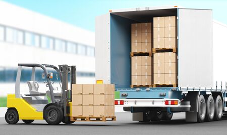 Business Logistics concept. Global business connection technology. Cardboard boxes. 3d rendering illustration