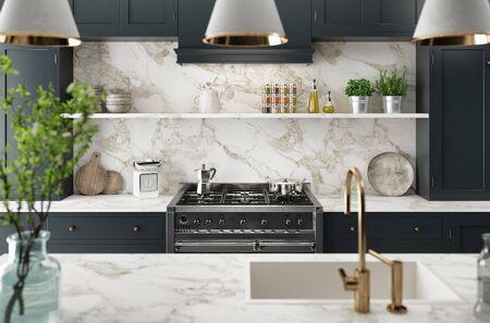 Intérieur de cuisine moderne dans un manoir de luxe, rendu 3d