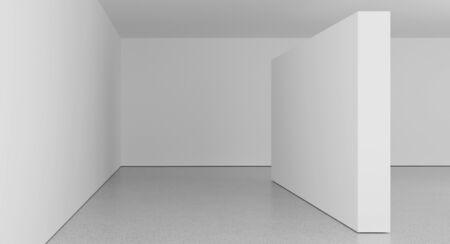 Hochauflösender leerer weißer Raum, 3D-Rendering