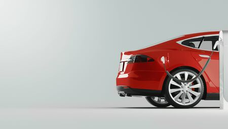 Power supply for electric car charging. Electric car charging station. 3d rendering illustration