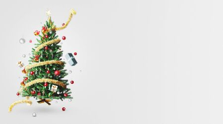 Decorated Christmas tree, Christmas background, 3d rendering