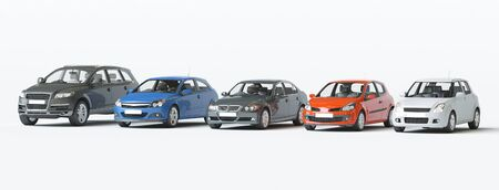 Modern Vehicles Collection, concept 3d rendering illustration