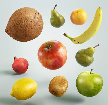 Colorful fruits on white background, 3d rendering illustration Zdjęcie Seryjne