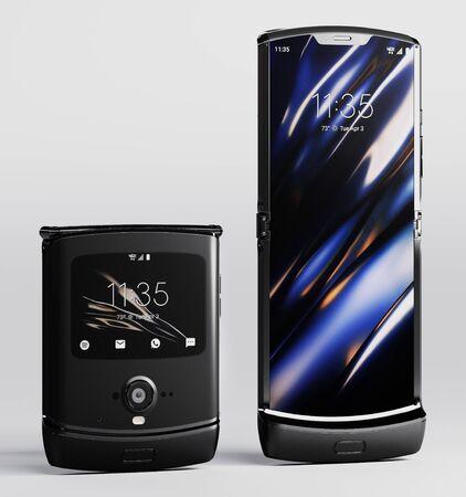 Milan, Italy - 25 November 2019 - Motorola Razr smartphone. 3d rendering