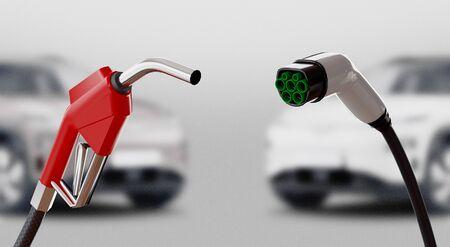 Diésel versus eléctrico. Estación de gas o eléctrica. Representación 3d Foto de archivo