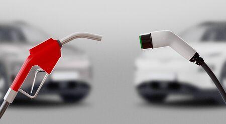 Diesel versus electric. Gas or electric station. 3d rendering