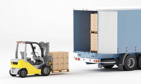 Concetto di logistica aziendale. Tecnologia di connessione aziendale globale. Scatole di cartone. rendering 3d Archivio Fotografico