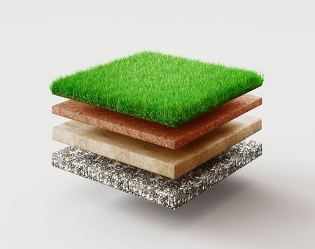 Ground or soil layers. Perspective empty space of green grass square isolated on white background. 3d rendering