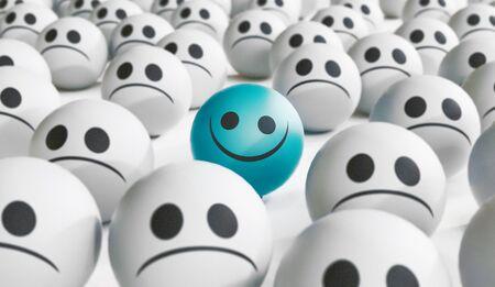 Faccina triste e felice, concetto di felicità, illustrazione rendering 3D
