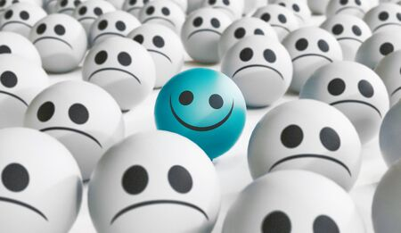 Sad and happy face, happiness concept, 3D rendering illustration