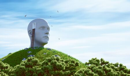 Statue human head and ladder on a hill. Surreal concept. 3d rendering