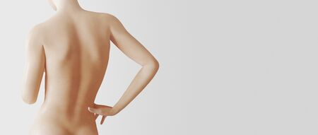 A beautiful woman, back view, isolated on white background, 3d rendering Standard-Bild