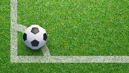 Soccer field with soccer ball and line, 3d rendering Banque d'images