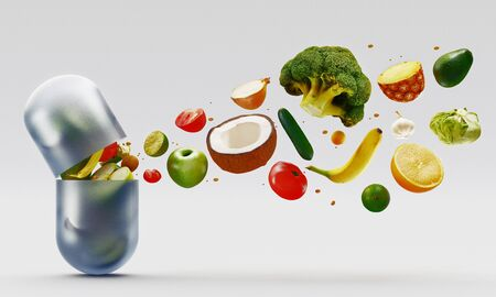 Composition with dietary supplements vegetables capsules. Variety of drug pills. 3d rendering