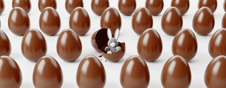 Chocolate easter eggs and gifts, 3d rendering Banque d'images